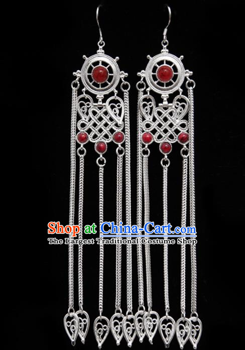 Chinese Traditional Ethnic Jewelry Accessories Mongolian Red Gems Earrings for Women