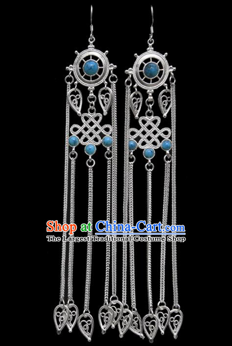 Chinese Traditional Ethnic Jewelry Accessories Mongolian Blue Gems Earrings for Women