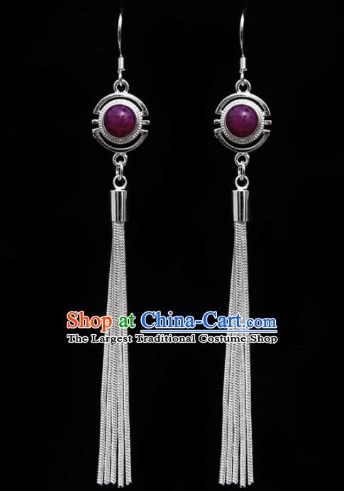 Chinese Traditional Ethnic Tassel Eardrop Jewelry Accessories Mongolian Purple Earrings for Women