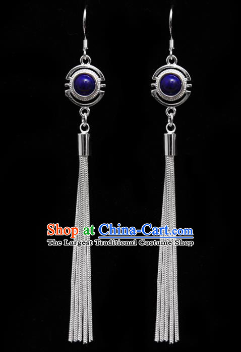 Chinese Traditional Ethnic Tassel Eardrop Jewelry Accessories Mongolian Royalblue Earrings for Women