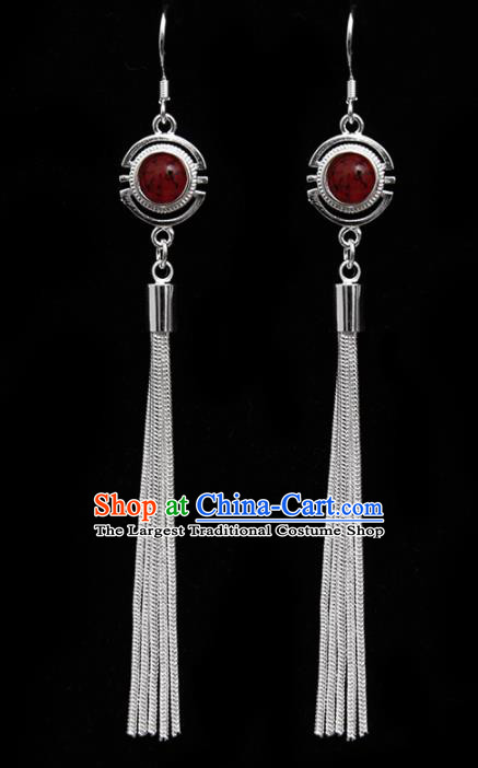 Chinese Traditional Ethnic Tassel Eardrop Jewelry Accessories Mongolian Red Earrings for Women