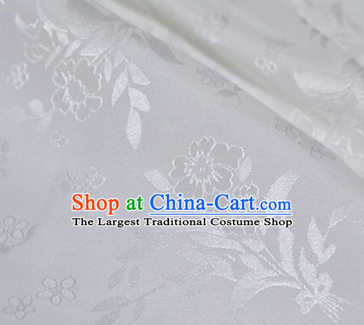 Asian Chinese Fabric Traditional Flowers Pattern Design White Brocade Fabric Chinese Costume Silk Fabric Material