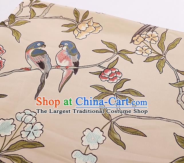 Asian Chinese Brocade Fabric Traditional Flowers Birds Pattern Design Satin Cushion Silk Fabric Material