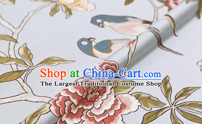 Asian Chinese Blue Brocade Fabric Traditional Flowers Birds Pattern Design Satin Cushion Silk Fabric Material