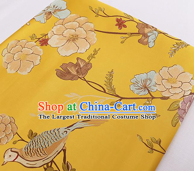 Asian Chinese Yellow Brocade Fabric Traditional Flowers Birds Pattern Design Satin Cushion Silk Fabric Material