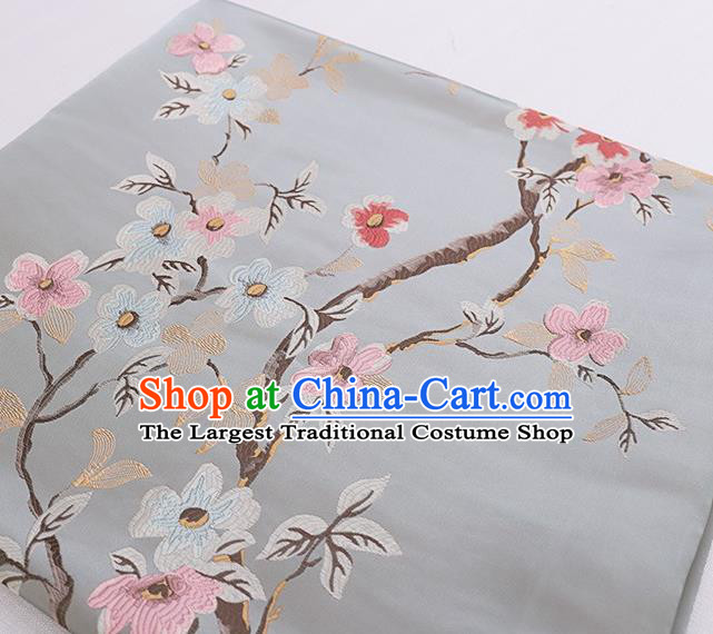 Asian Chinese Grey Brocade Fabric Traditional Peach Blossom Pattern Design Satin Cushion Silk Fabric Material