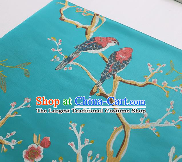 Asian Chinese Green Brocade Fabric Traditional Peach Blossom Pattern Design Satin Cushion Silk Fabric Material