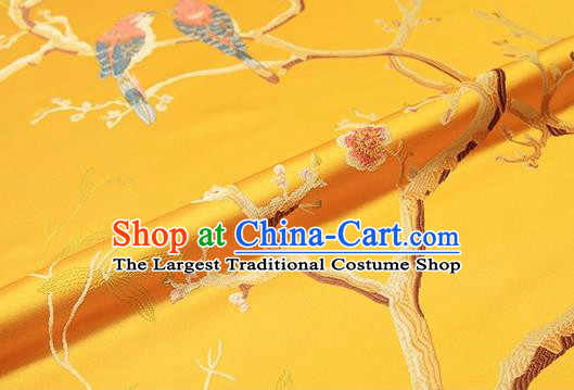 Asian Chinese Golden Brocade Fabric Traditional Peach Blossom Pattern Design Satin Cushion Silk Fabric Material