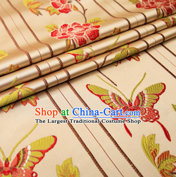 Asian Chinese Brocade Fabric Traditional Red Butterfly Pattern Design Satin Cushion Silk Fabric Material