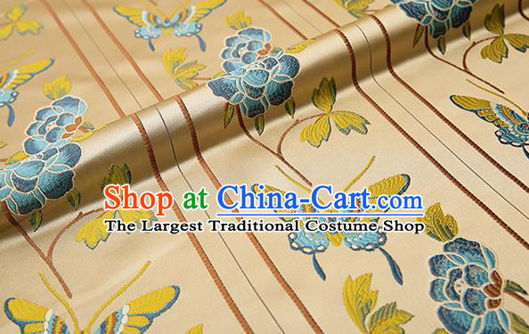 Asian Chinese Brocade Fabric Traditional Blue Butterfly Pattern Design Satin Cushion Silk Fabric Material