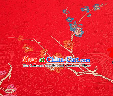Asian Chinese Red Brocade Fabric Traditional Plum Blossom Pattern Design Satin Tang Suit Silk Fabric Material