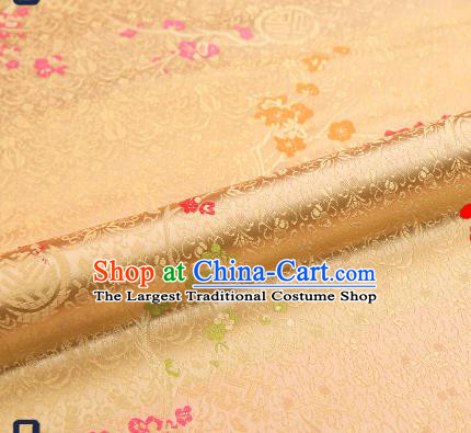 Asian Chinese Light Golden Brocade Fabric Traditional Plum Blossom Pattern Design Satin Tang Suit Silk Fabric Material