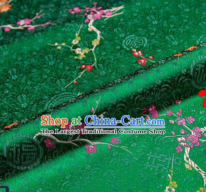 Asian Chinese Green Brocade Fabric Traditional Plum Blossom Pattern Design Satin Tang Suit Silk Fabric Material