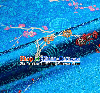 Asian Chinese Blue Brocade Fabric Traditional Plum Blossom Pattern Design Satin Tang Suit Silk Fabric Material