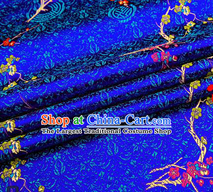 Asian Chinese Royalblue Brocade Fabric Traditional Plum Blossom Pattern Design Satin Tang Suit Silk Fabric Material