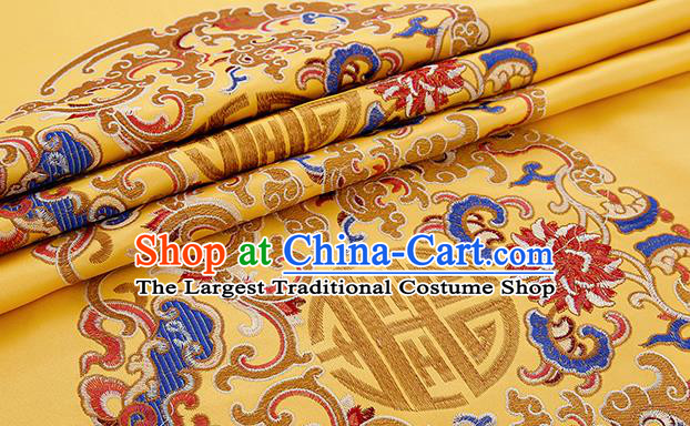 Asian Chinese Yellow Brocade Fabric Traditional Pattern Design Satin Pillow Silk Fabric Material