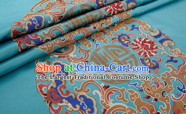 Asian Chinese Blue Brocade Fabric Traditional Pattern Design Satin Pillow Silk Fabric Material