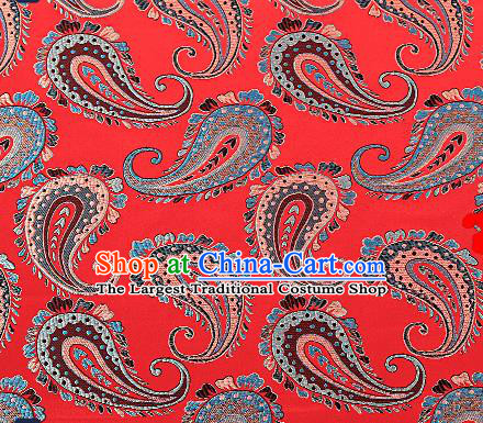 Asian Chinese Red Brocade Fabric Traditional Pattern Design Satin Pillow Silk Fabric Material