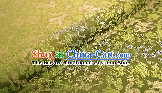 Asian Chinese Olive Green Brocade Fabric Traditional Dragons Pattern Design Satin Pillow Silk Fabric Material