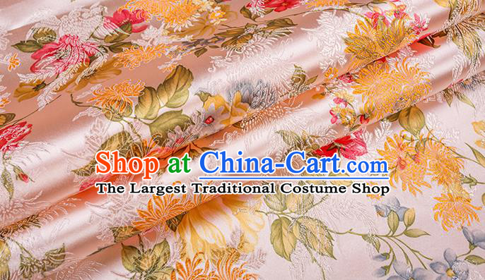 Asian Chinese Pink Brocade Fabric Traditional Chrysanthemum Pattern Design Satin Pillow Silk Fabric Material