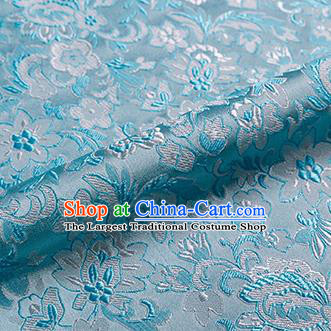 Asian Chinese Blue Brocade Fabric Traditional Flowers Pattern Design Satin Pillow Silk Fabric Material