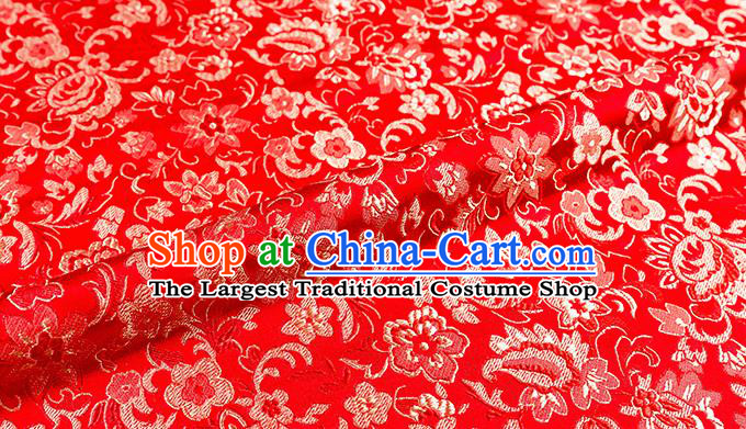 Asian Chinese Red Brocade Fabric Traditional Flowers Pattern Design Satin Pillow Silk Fabric Material