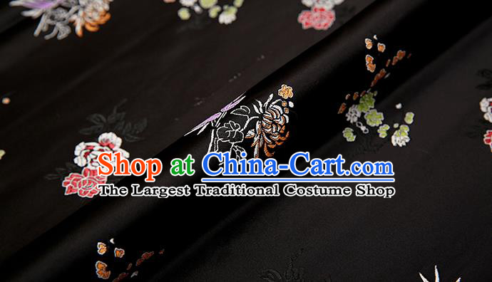Asian Chinese Black Brocade Fabric Traditional Plum Blossom Orchid Bamboo Chrysanthemum Pattern Design Satin Pillow Silk Fabric Material
