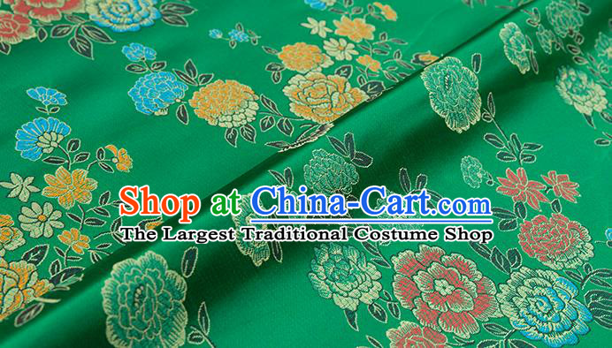 Asian Chinese Green Brocade Fabric Traditional Peony Pattern Design Satin Qipao Dress Silk Fabric Material