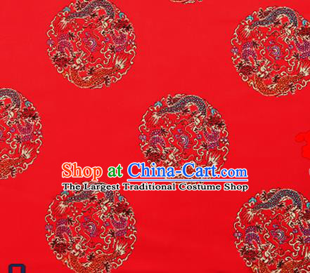 Traditional Chinese Red Brocade Fabric Asian Dragons Pattern Design Satin Cushion Silk Fabric Material