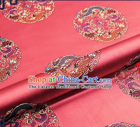 Traditional Chinese Watermelon Red Brocade Fabric Asian Dragons Pattern Design Satin Cushion Silk Fabric Material