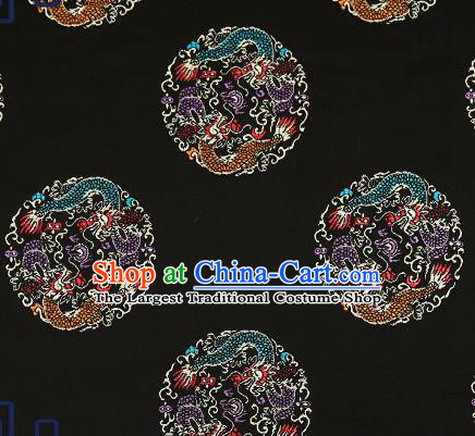 Traditional Chinese Black Brocade Fabric Asian Dragons Pattern Design Satin Cushion Silk Fabric Material