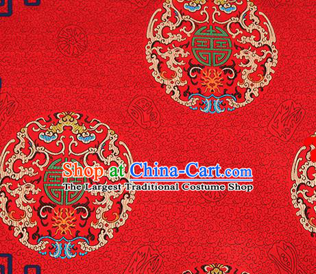 Chinese Traditional Red Brocade Fabric Asian Dragons Pattern Design Satin Cushion Silk Fabric Material