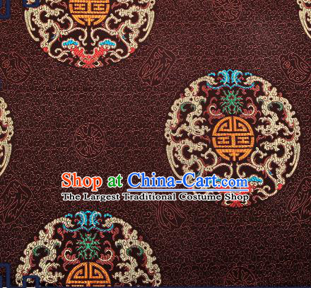 Chinese Traditional Brown Brocade Fabric Asian Dragons Pattern Design Satin Cushion Silk Fabric Material