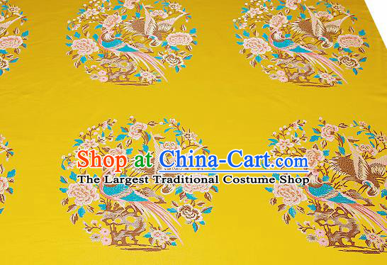 Chinese Traditional Yellow Brocade Fabric Asian Birds Peony Pattern Design Satin Cushion Silk Fabric Material