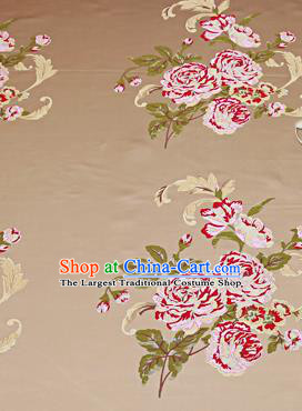 Chinese Traditional Khaki Brocade Fabric Asian Peony Pattern Design Satin Cushion Silk Fabric Material