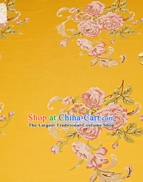 Chinese Traditional Yellow Brocade Fabric Asian Peony Pattern Design Satin Cushion Silk Fabric Material