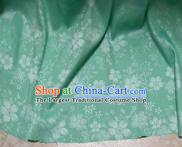 Asian Chinese Fabric Traditional Sakura Pattern Design Green Brocade Fabric Chinese Costume Silk Fabric Material