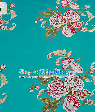 Chinese Traditional Green Brocade Fabric Asian Peony Pattern Design Satin Cushion Silk Fabric Material