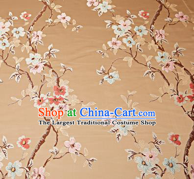 Chinese Traditional Khaki Brocade Fabric Asian Pattern Design Satin Cushion Silk Fabric Material