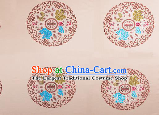 Chinese Traditional Beige Brocade Fabric Asian Peony Pattern Design Satin Cushion Silk Fabric Material