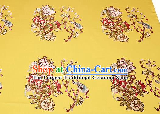 Chinese Traditional Yellow Brocade Fabric Asian Embroidery Pattern Design Satin Cushion Silk Fabric Material