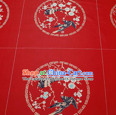 Chinese Traditional Red Brocade Fabric Asian Embroidery Plum Blossom Birds Pattern Design Satin Cushion Silk Fabric Material