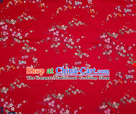 Chinese Traditional Wine Red Brocade Fabric Asian Plum Blossom Pattern Design Satin Tang Suit Silk Fabric Material