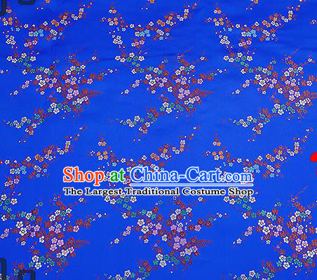 Chinese Traditional Royalblue Brocade Fabric Asian Plum Blossom Pattern Design Satin Tang Suit Silk Fabric Material
