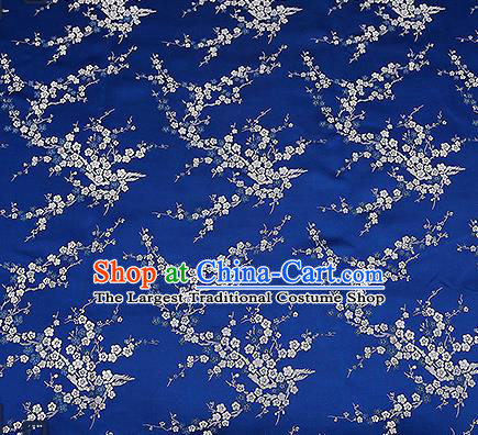 Chinese Traditional Navy Brocade Fabric Asian Plum Blossom Pattern Design Satin Tang Suit Silk Fabric Material