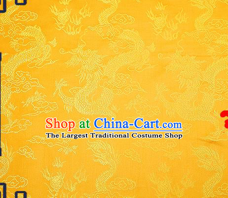 Chinese Traditional Yellow Brocade Fabric Asian Dragons Pattern Design Satin Tang Suit Silk Fabric Material