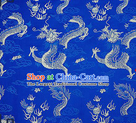 Chinese Traditional Blue Brocade Fabric Asian Dragons Pattern Design Satin Tang Suit Silk Fabric Material