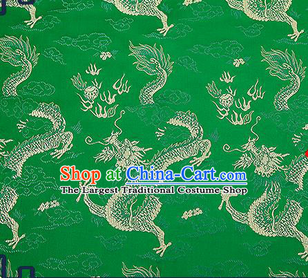 Chinese Traditional Green Brocade Fabric Asian Dragons Pattern Design Satin Tang Suit Silk Fabric Material