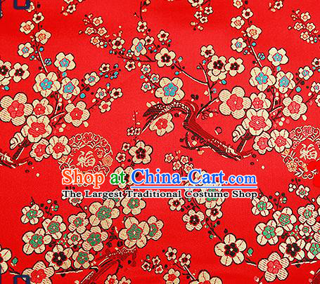 Chinese Traditional Red Brocade Fabric Classical Plum Blossom Pattern Design Satin Tang Suit Silk Fabric Material