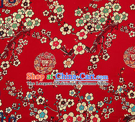 Chinese Traditional Purplish Red Brocade Fabric Classical Plum Blossom Pattern Design Satin Tang Suit Silk Fabric Material